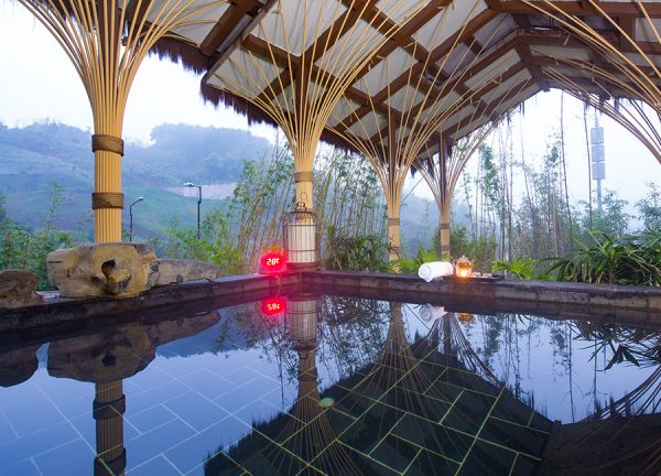Outdoor heated pool in a remote, spa-setting