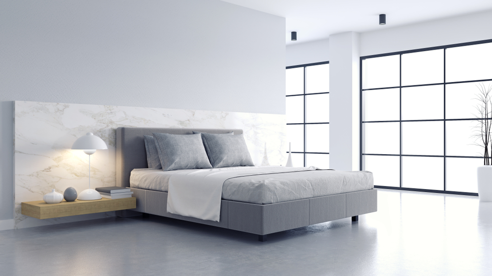 minimalist grey and white bedroom