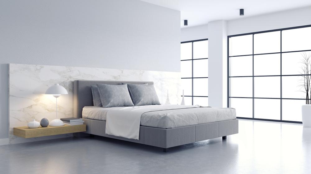 minimalist grey and white bedroom