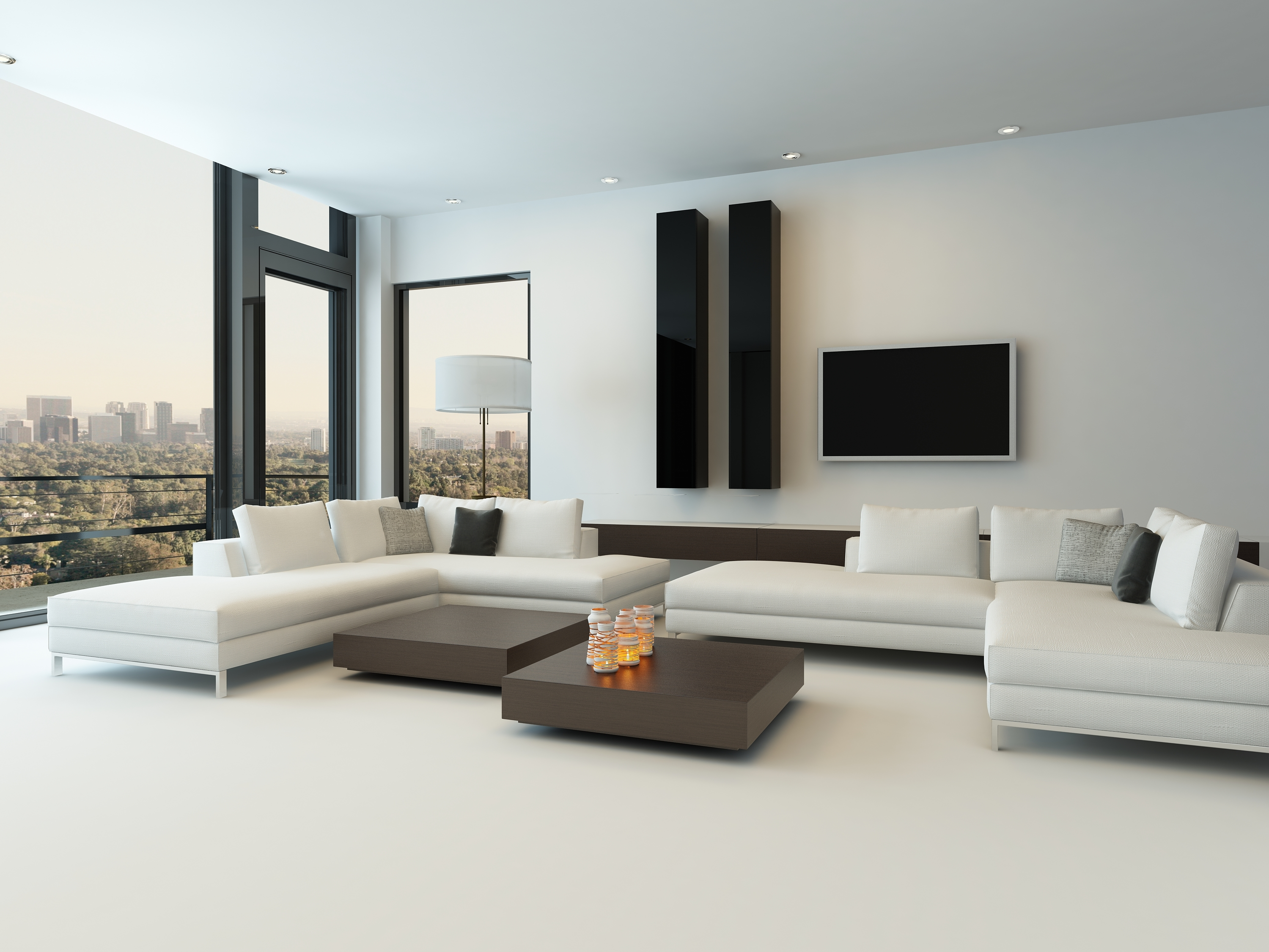 living room with white sectional couch