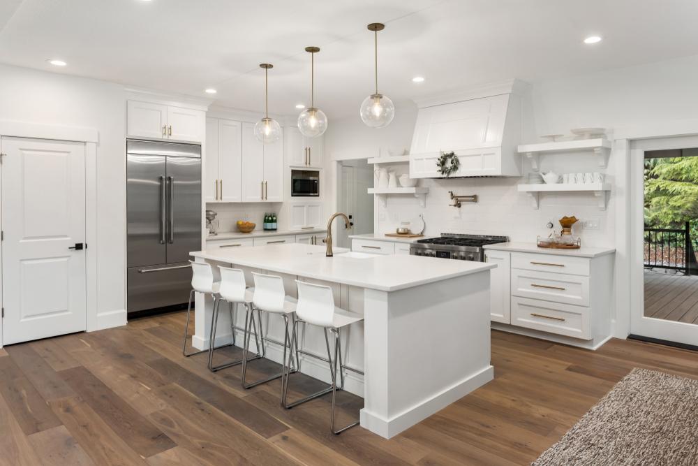 dark flooring in an all white kitchen