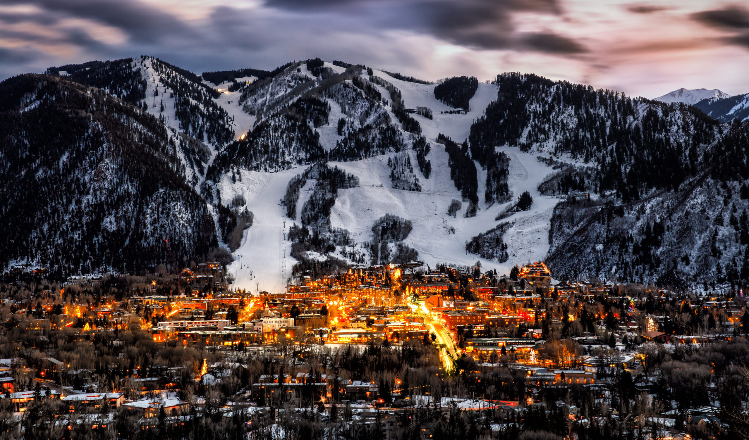 View of town of Aspen, Colorado and mountains in back