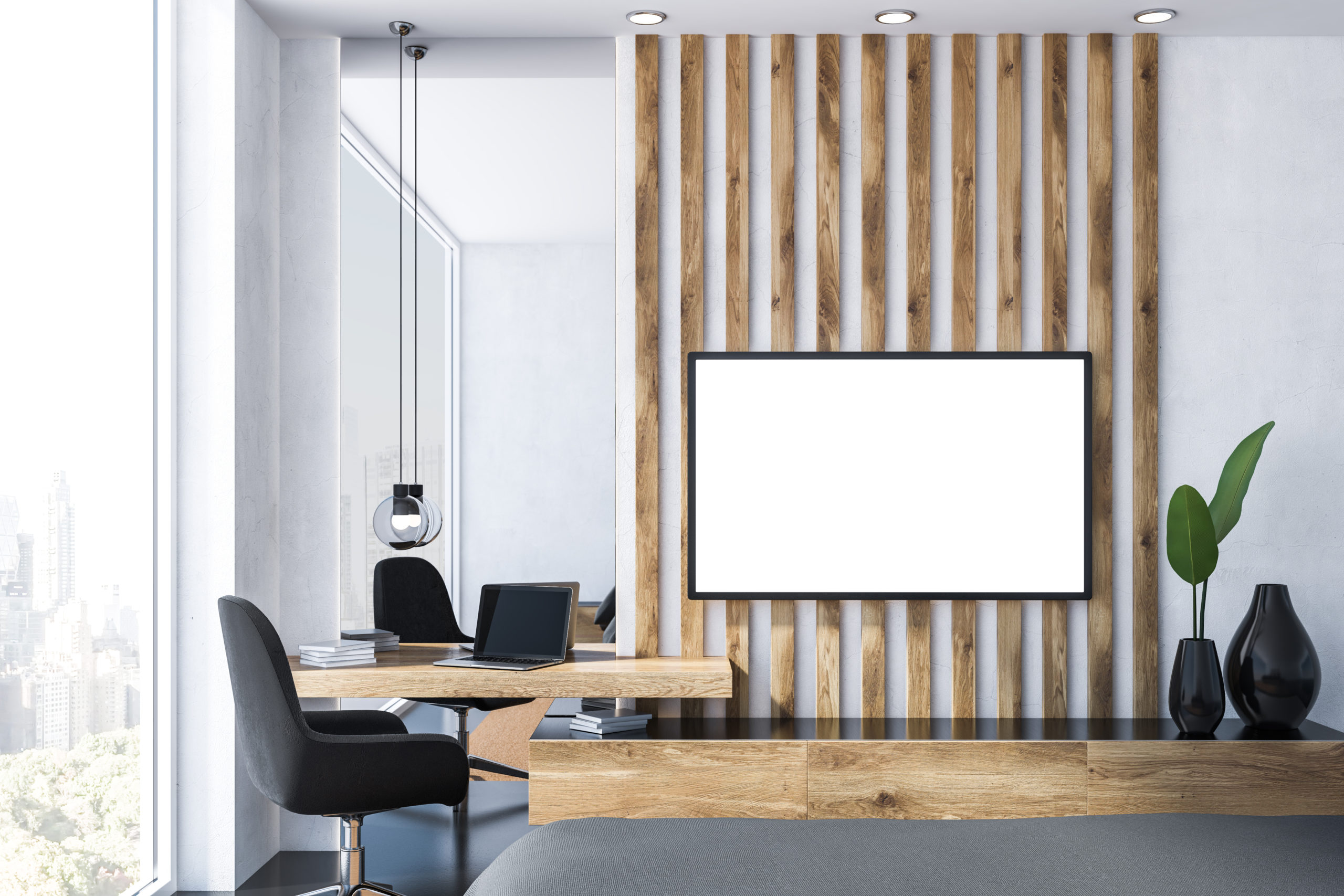 large screen in office