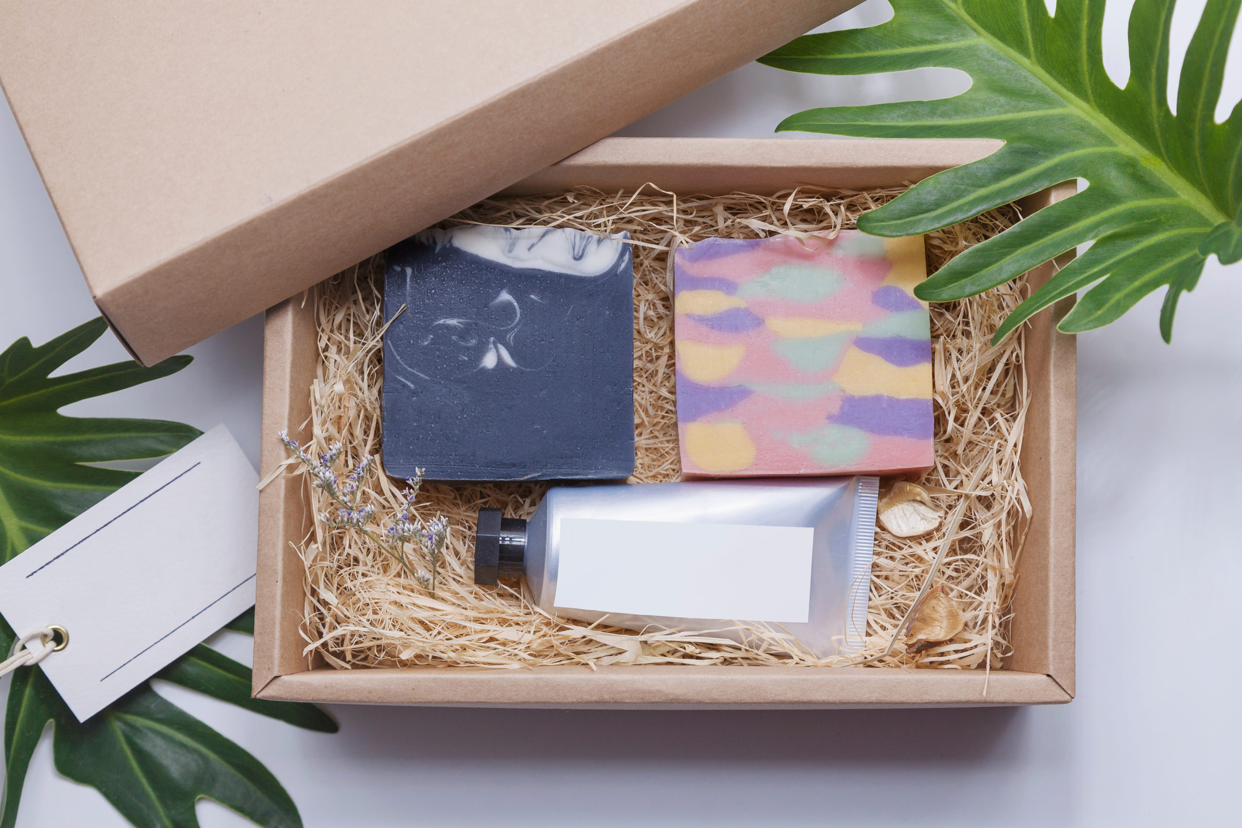 soap and moisturizer in gift box