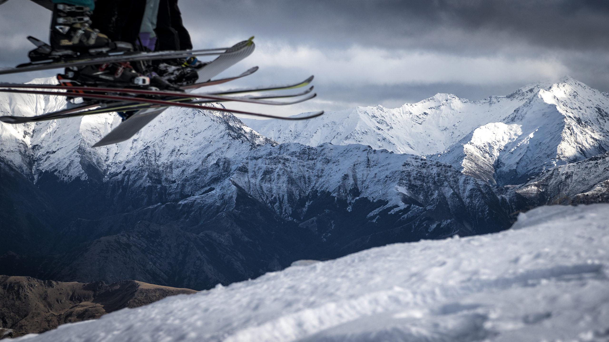 Skiers at Coronet Peak, Queenstown, New Zealand