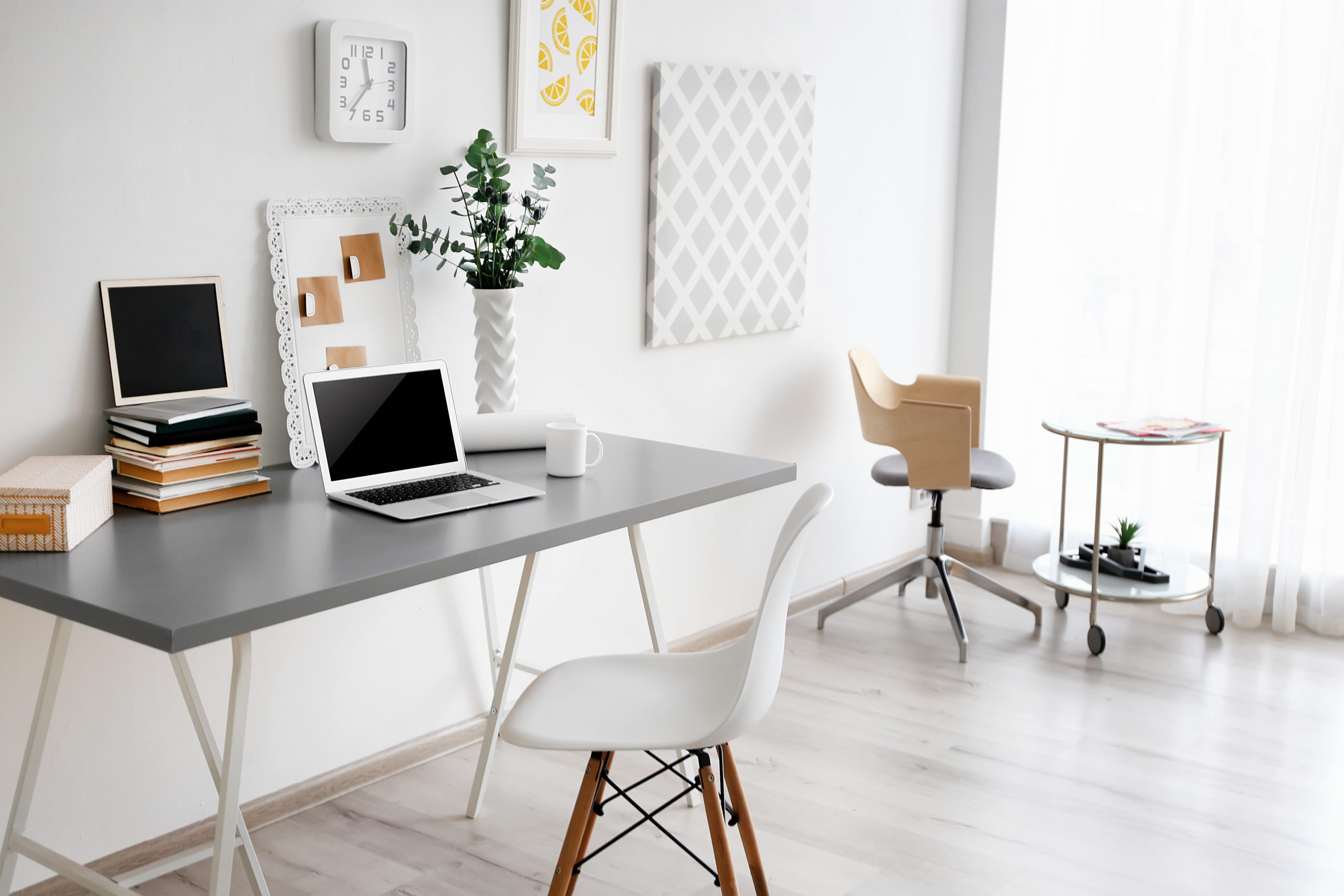 clutter free home office with long desk