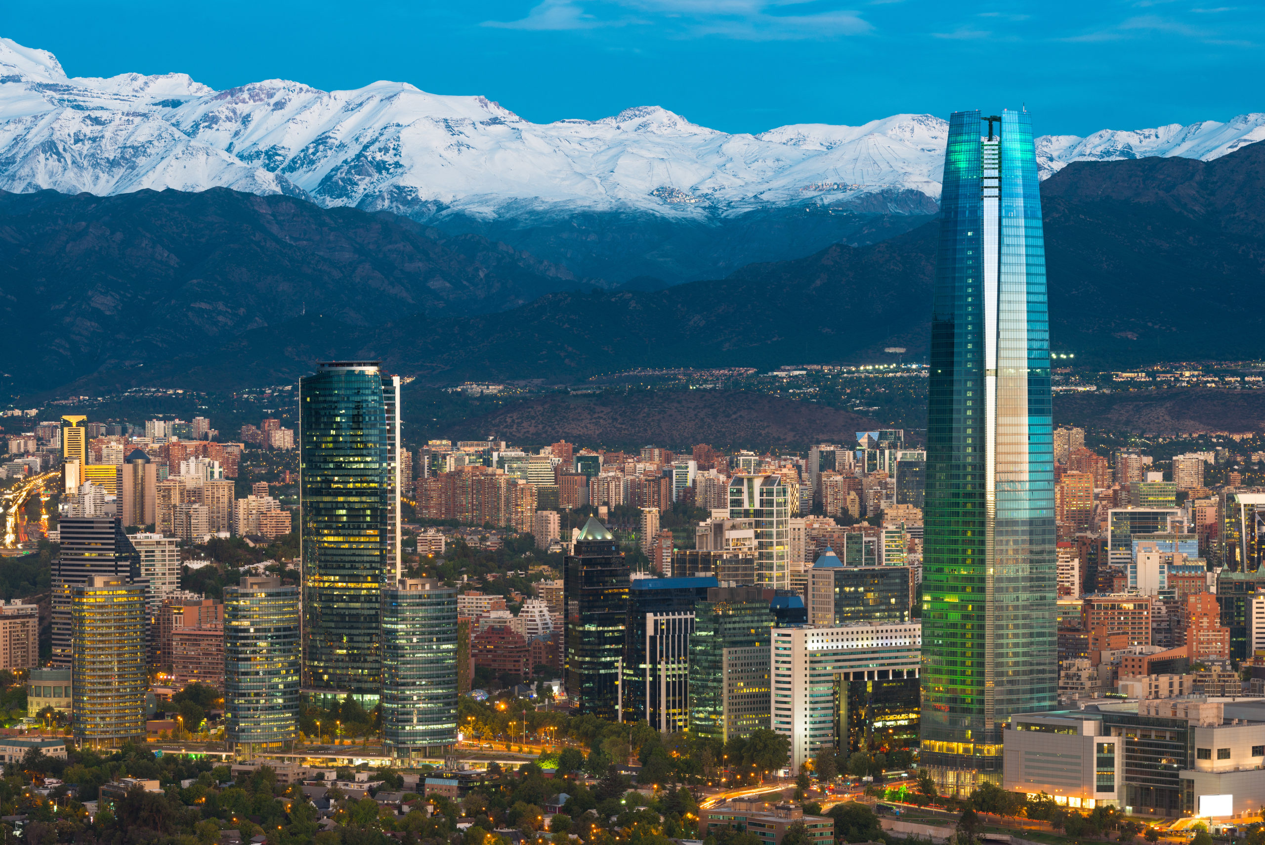 The skyline of Santiago de Chile at the bottom of the Andes Mountains