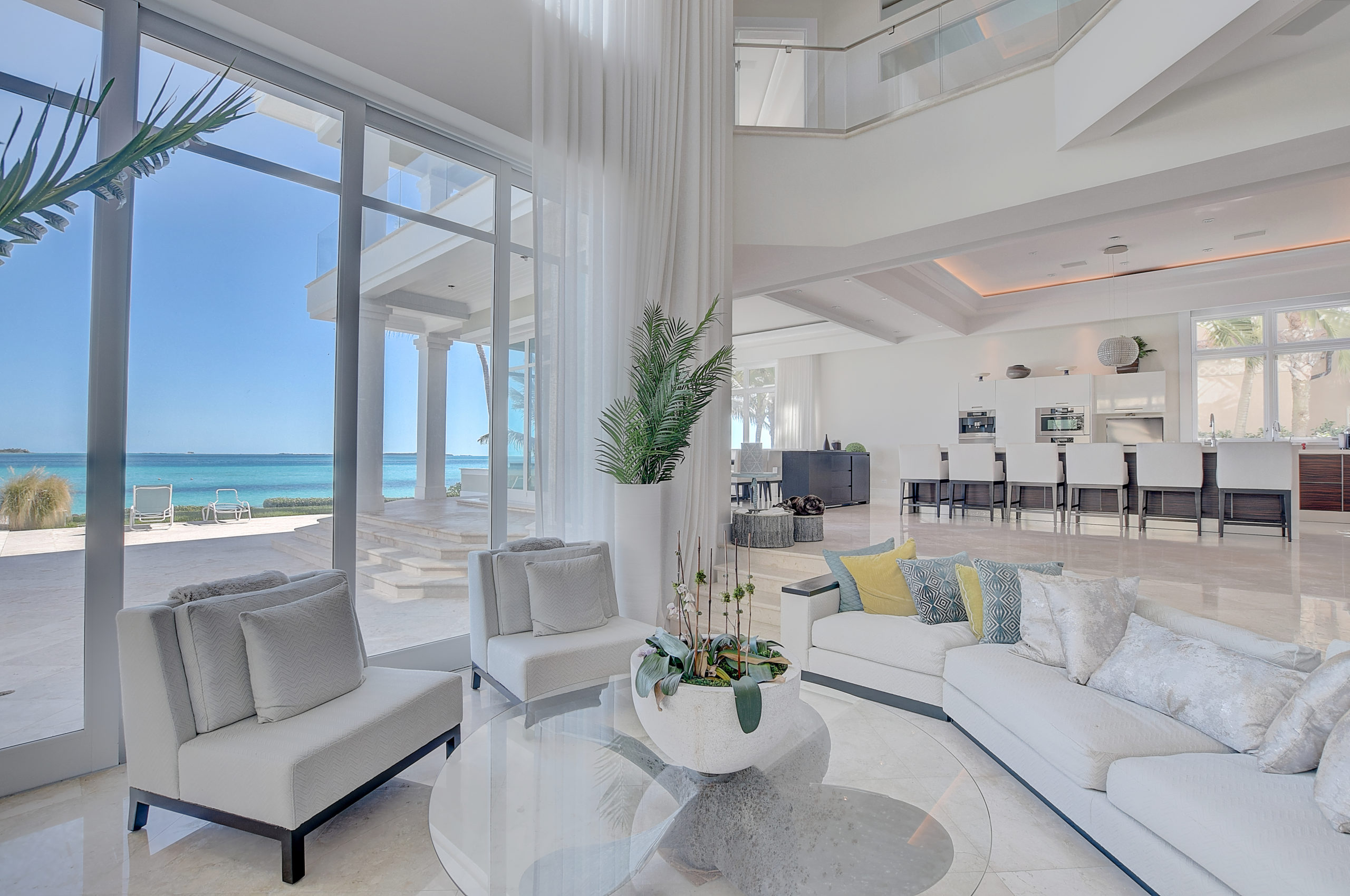 living room with views of the ocean in Bahamas