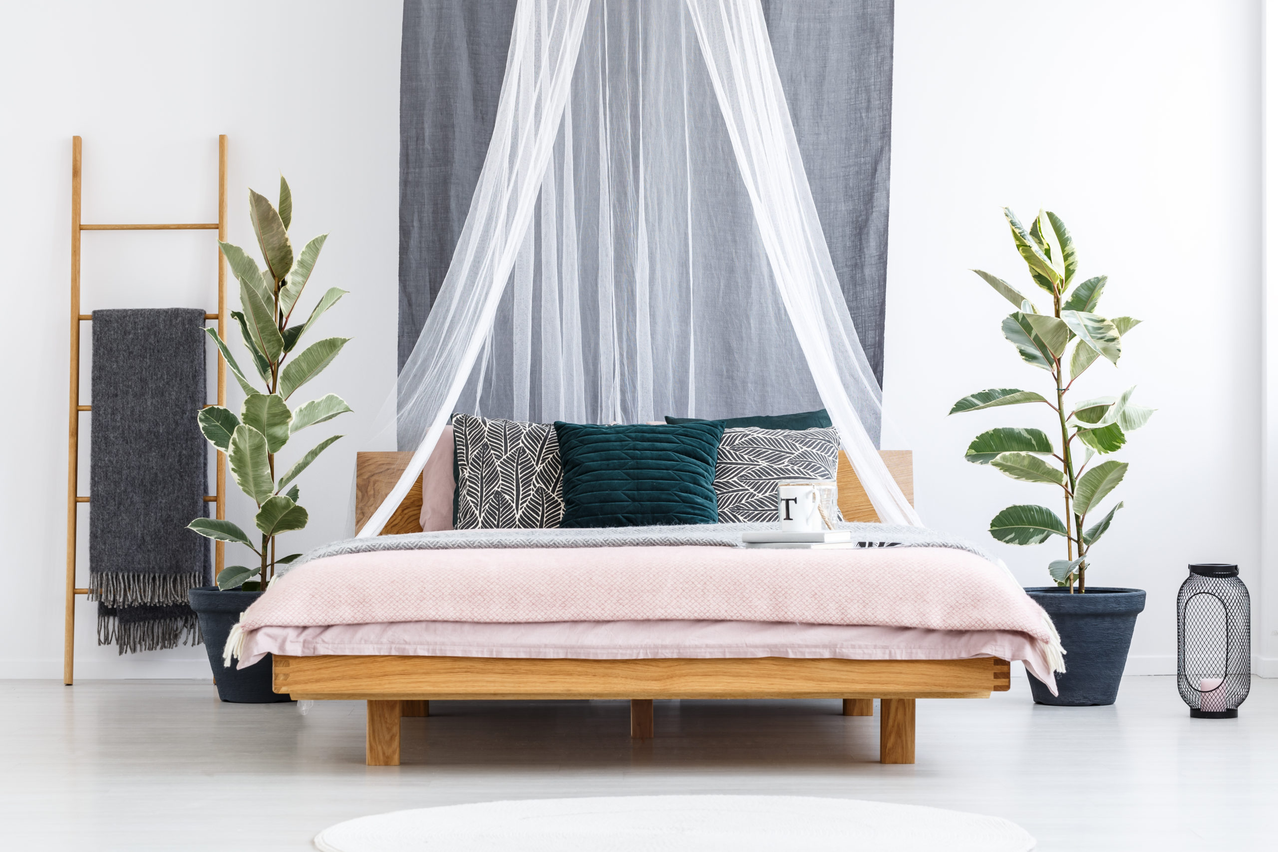 wooden bed with white canopy