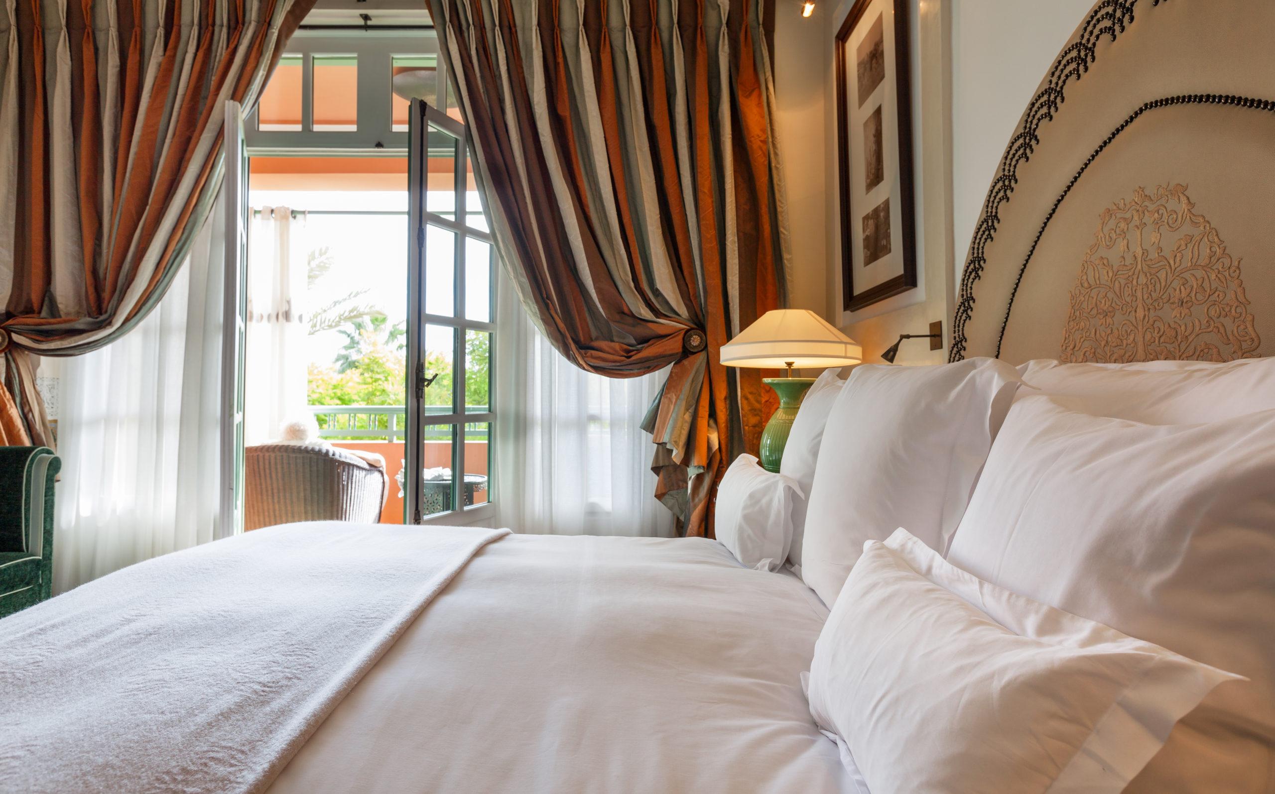 bedroom drapes surrounding French Doors