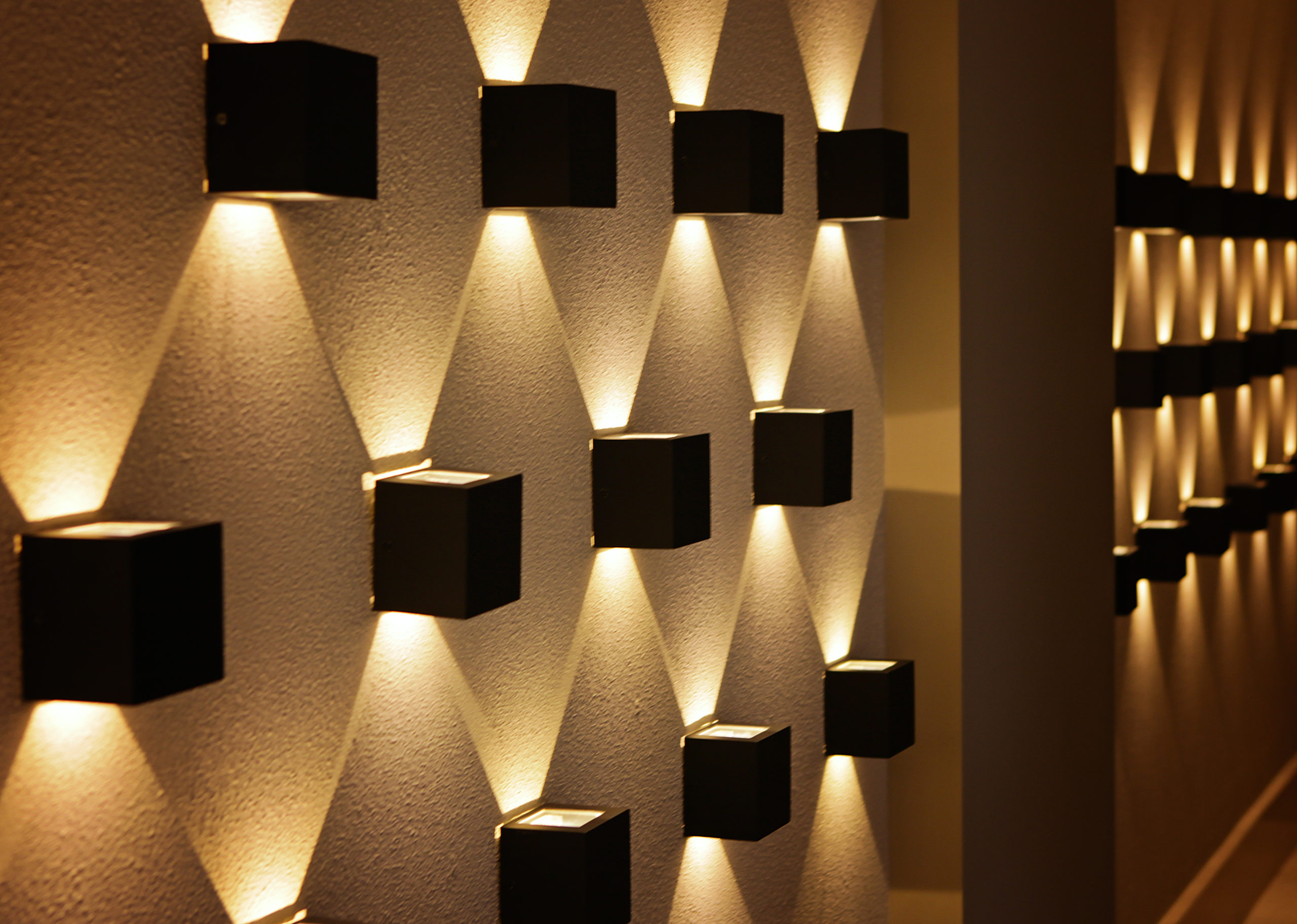 wall filled with cubed lights